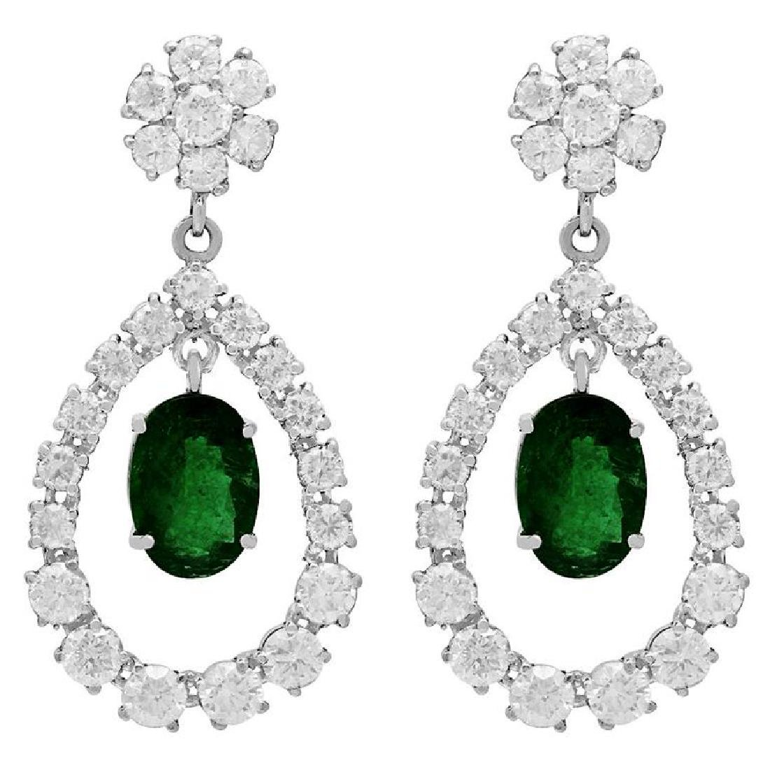 14k White Gold 5.91ct Emerald 7.10ct Diamond Earrings