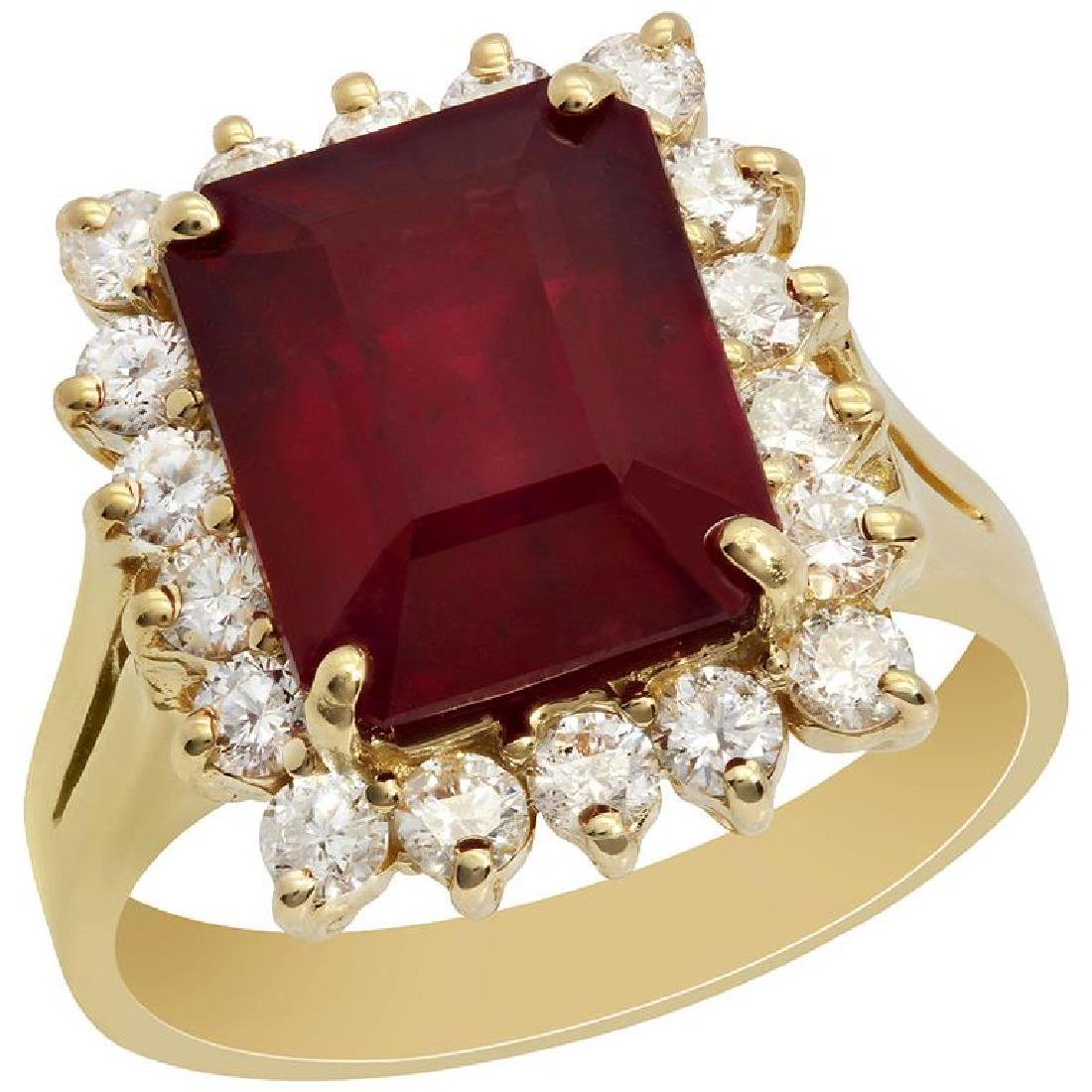 14k Yellow Gold 7.81ct Ruby 0.91ct Diamond Ring