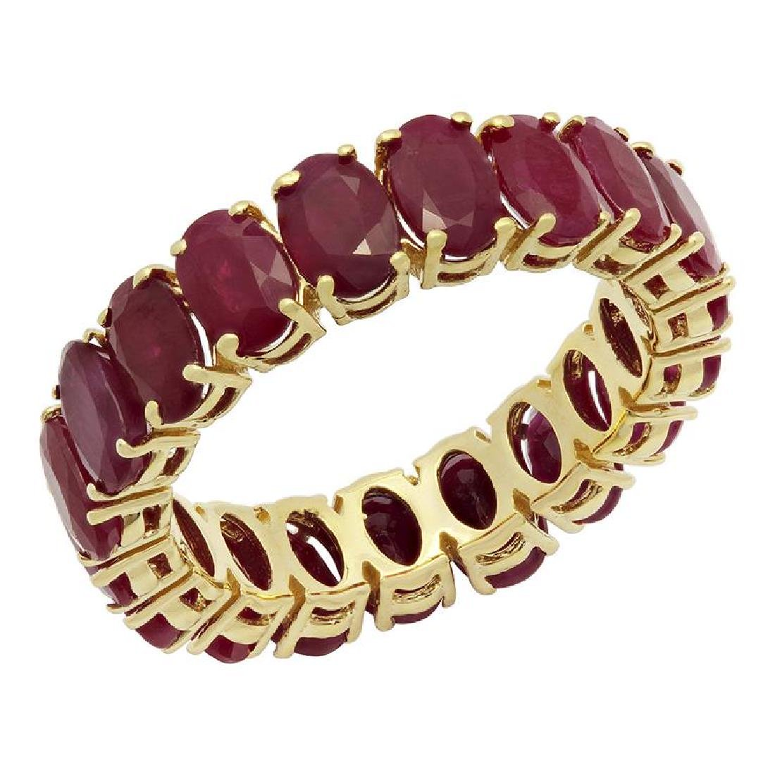 14k Yellow Gold 10.47ct Ruby Eternity Band