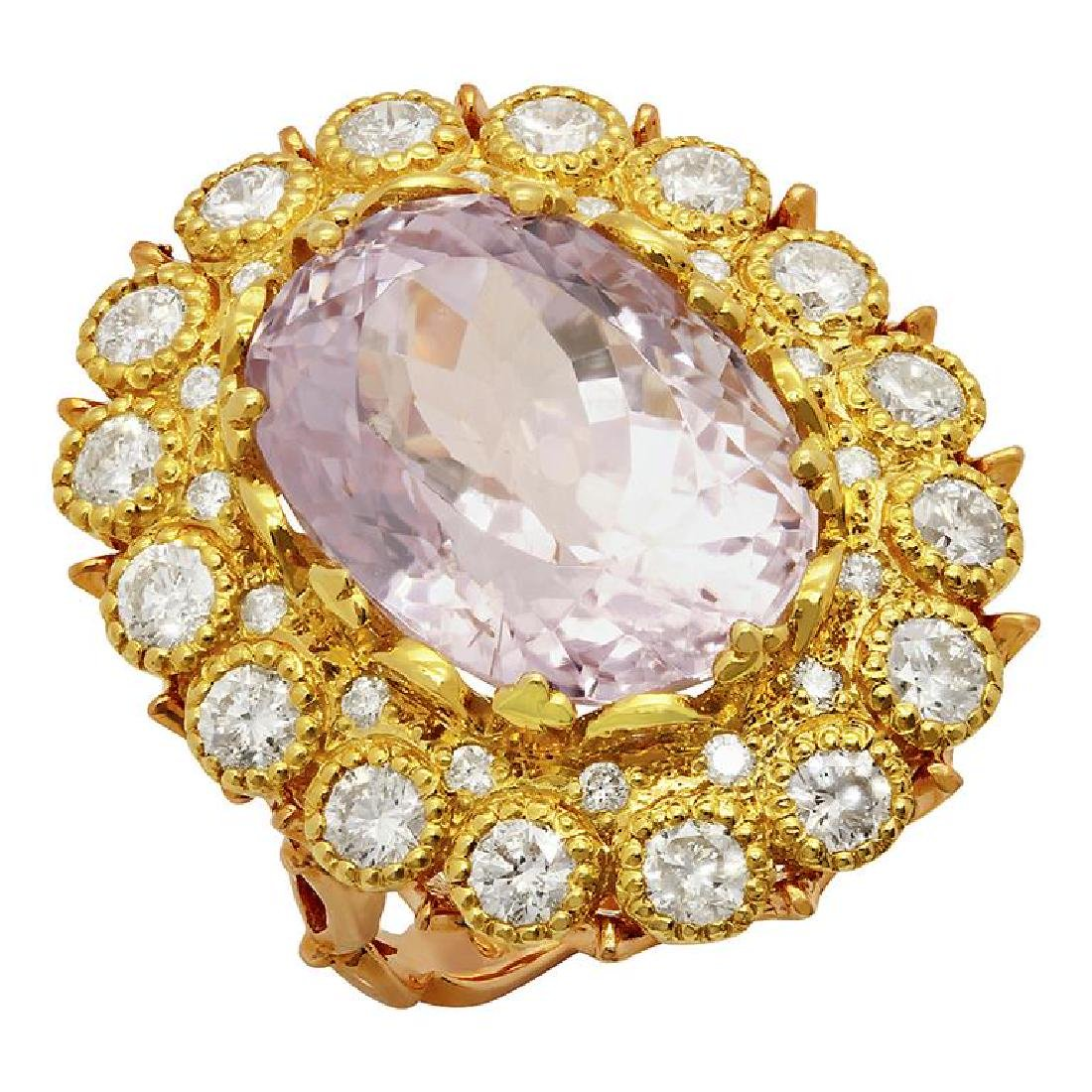 14k Yellow & Rose Gold 19.86ct Kunzite 2.84ct Diamond