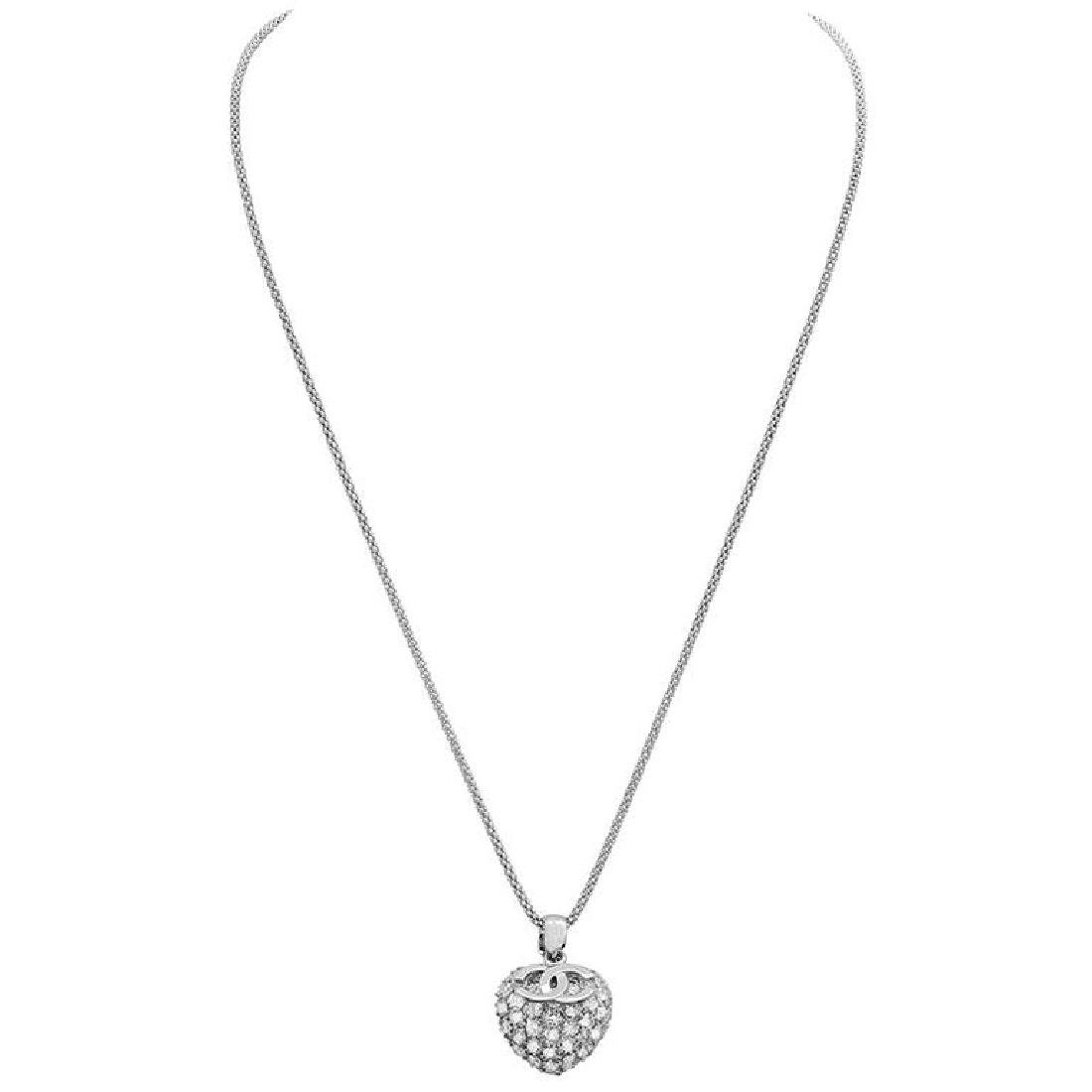 14k White Gold 2.98ct Diamond Pendant With Chain