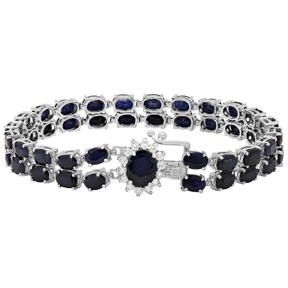 14k White Gold 26.91ct Sapphire 0.50ct Diamond Bracelet