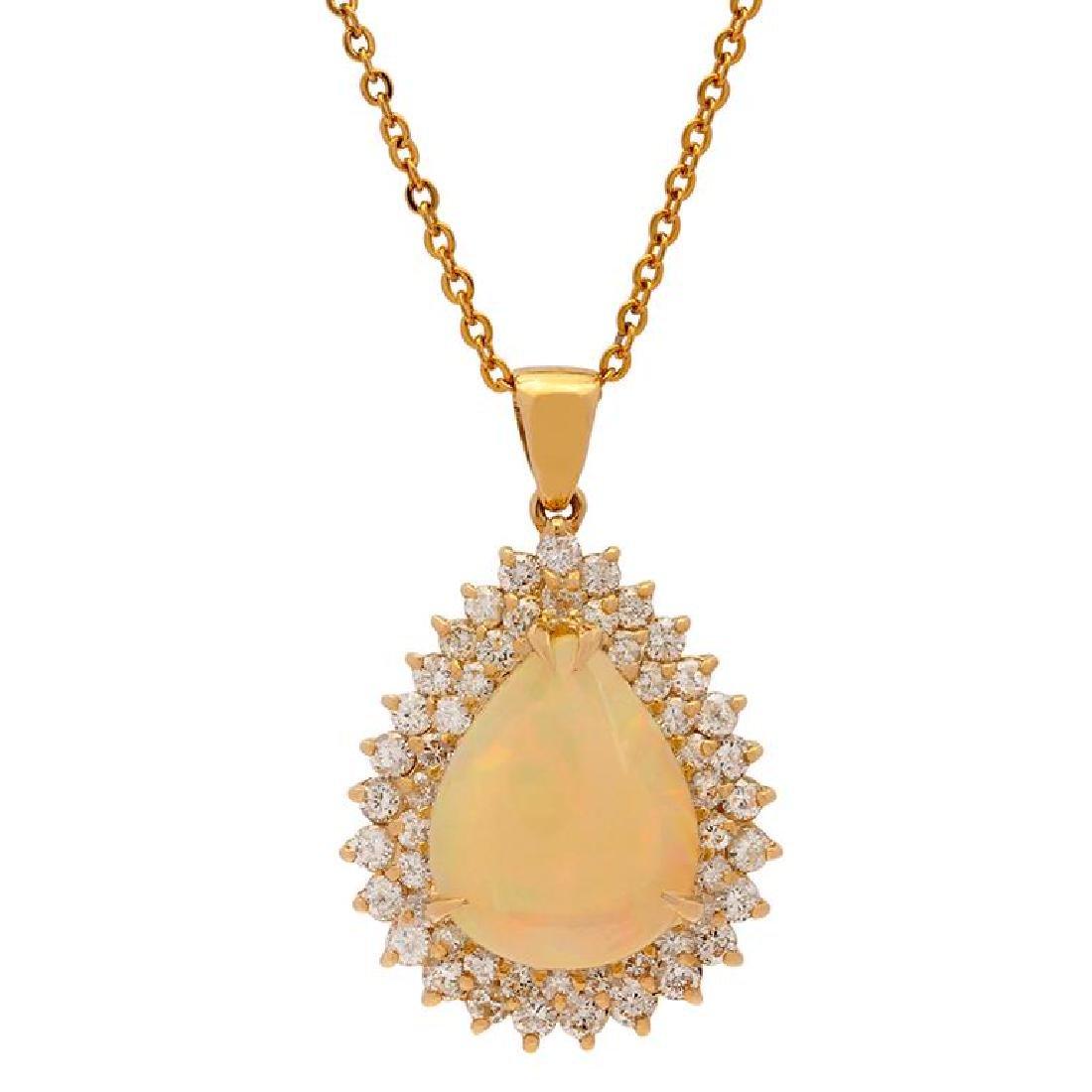 14k Yellow Gold 6.68ct Opal 1.91ct Diamond Pendant