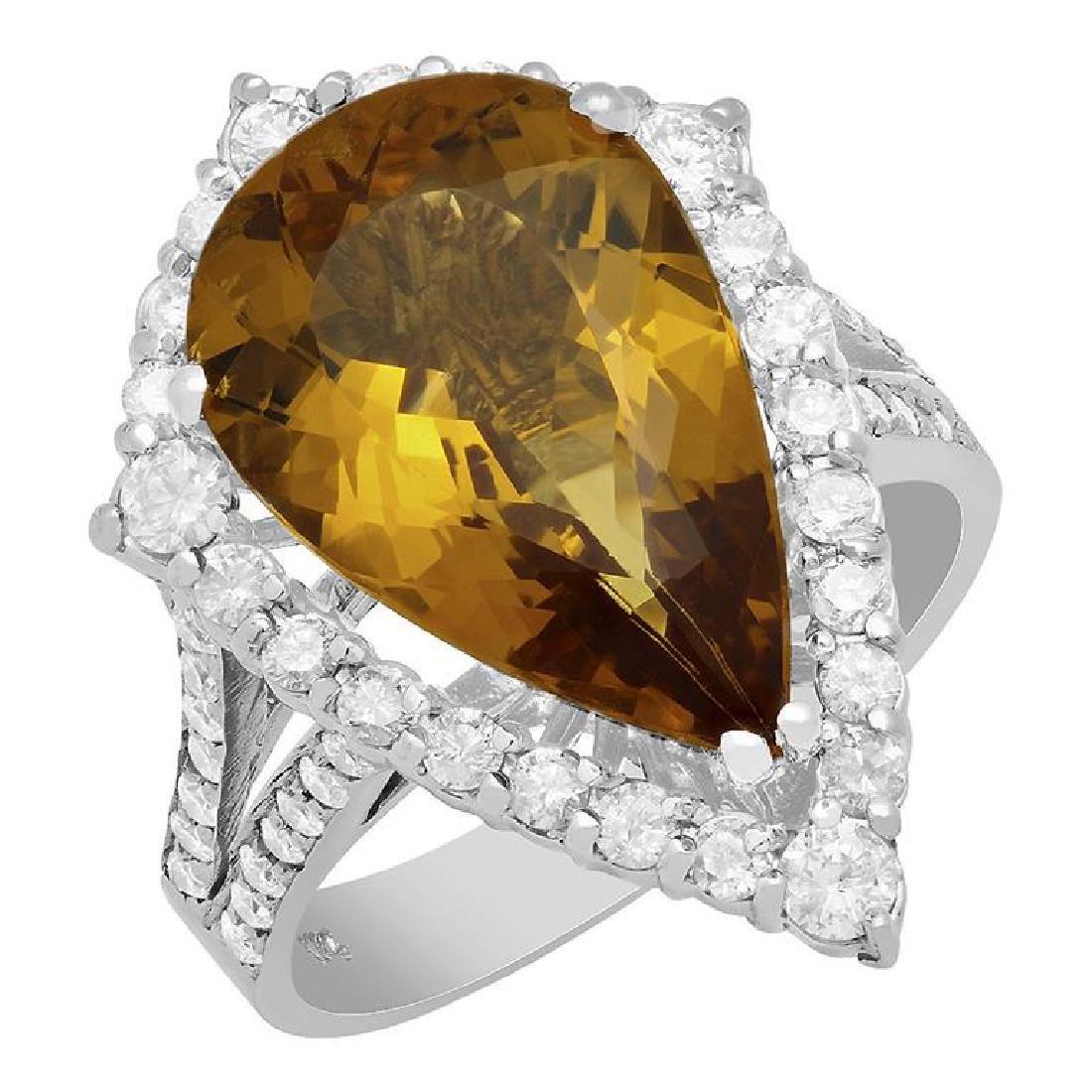 14k White Gold 5.61ct Yellow Beryl 1.12ct Diamond Ring