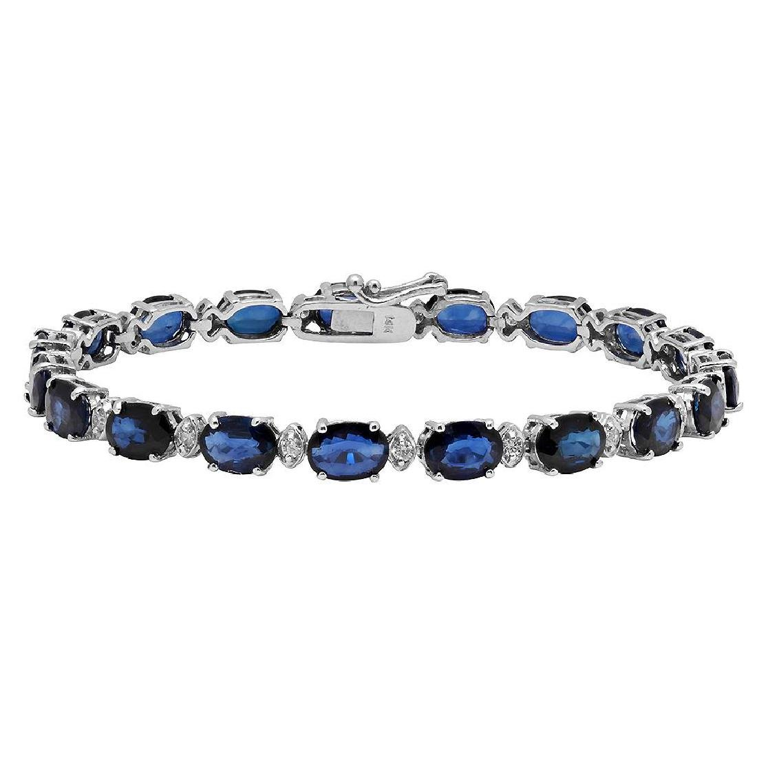 14k White Gold 16.85ct Sapphire 0.60ct Diamond Bracelet