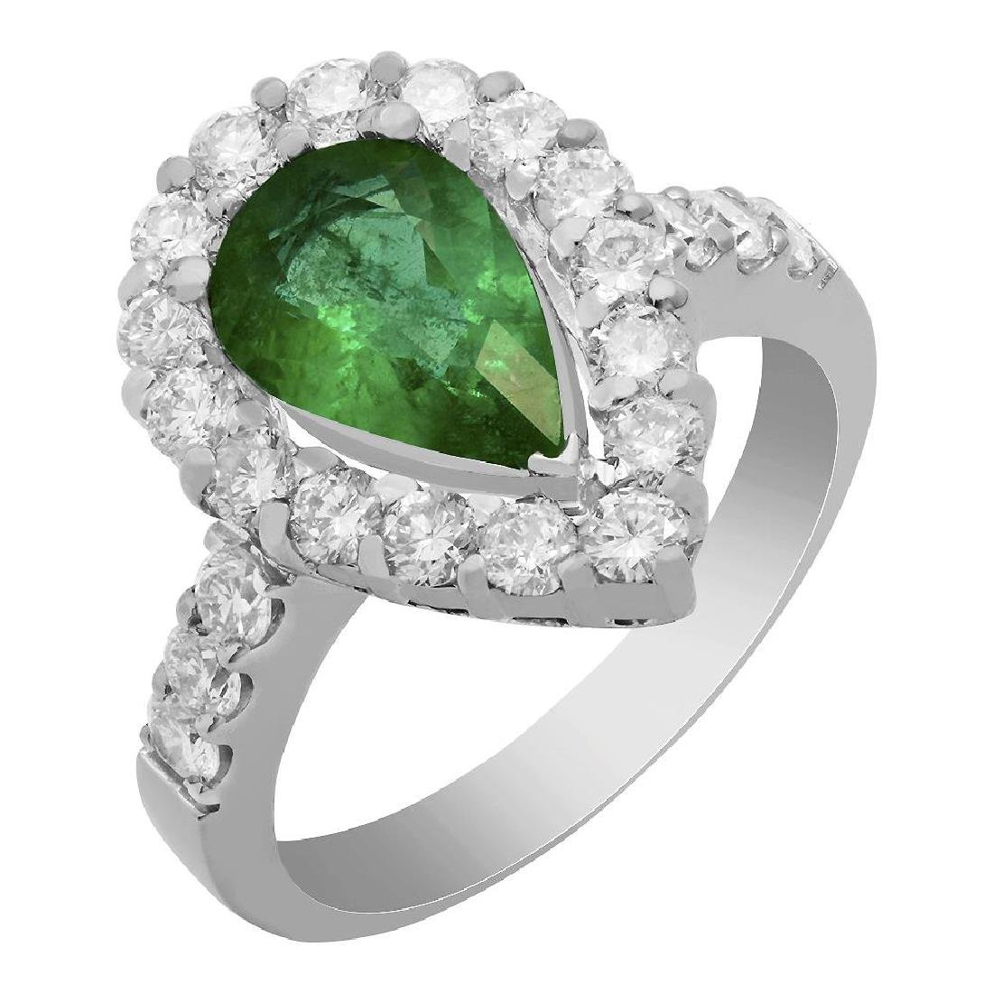 14k White Gold 1.35ct Emerald 1.22ct Diamond Ring