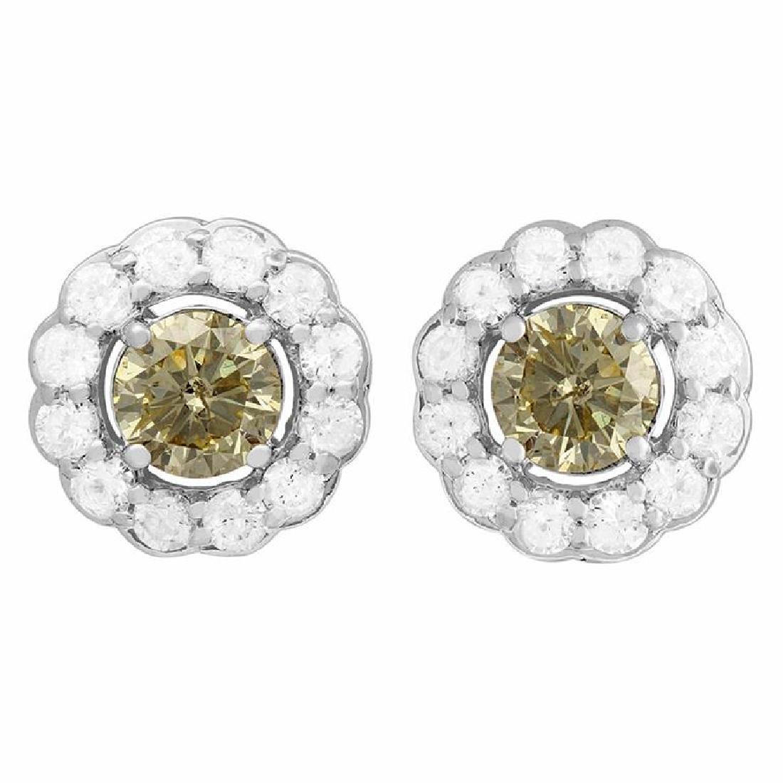 14k White Gold 1.41ct Diamond Earrings