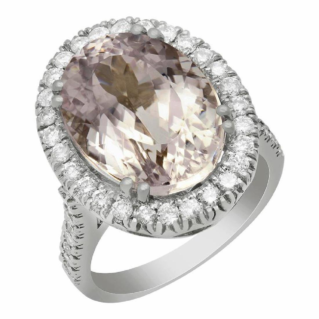 14k White Gold 11.83ct Kunzite 1.02ct Diamond Ring