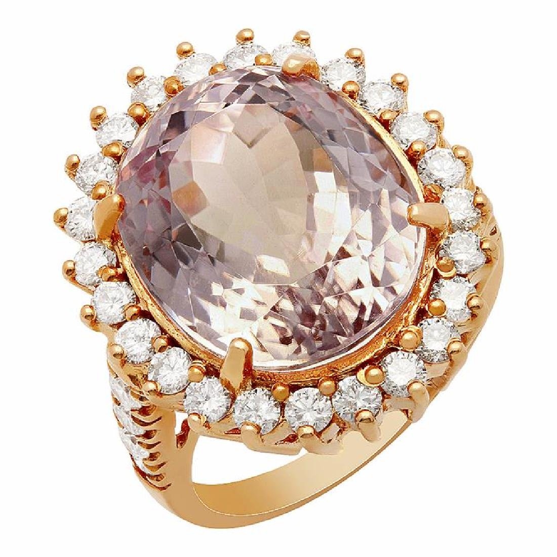 14k Rose Gold 16.56ct Kunzite 1.51ct Diamond Ring
