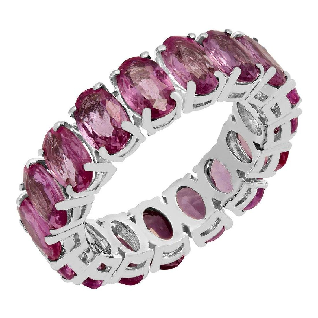 14k White Gold 12.11ct Pink Sapphire Eternity Band