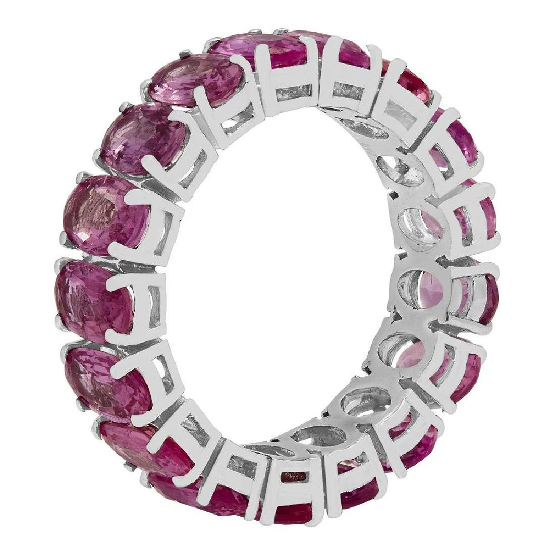 14k White Gold 12.11ct Pink Sapphire Eternity Band - 2