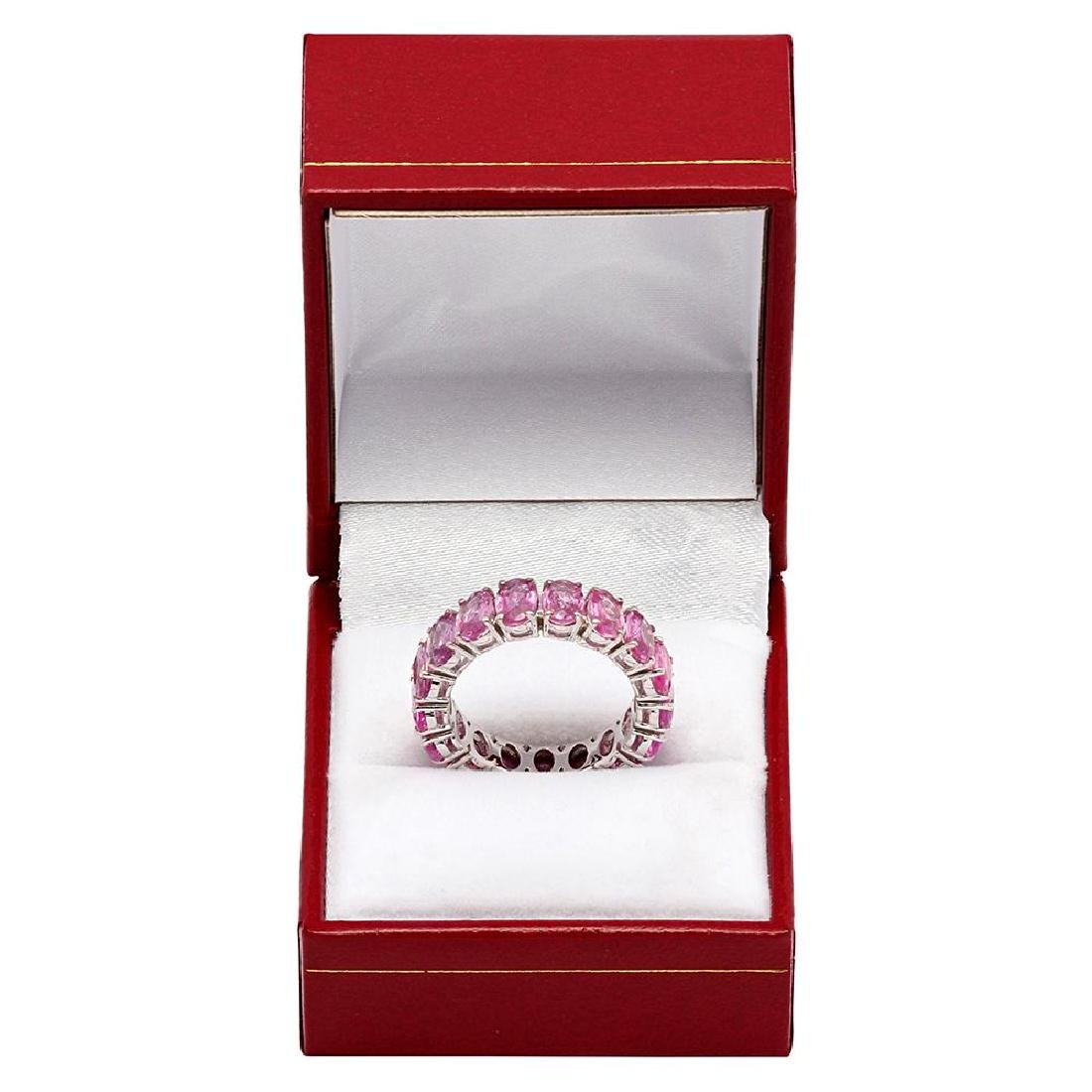 14k White Gold 12.11ct Pink Sapphire Eternity Band - 3