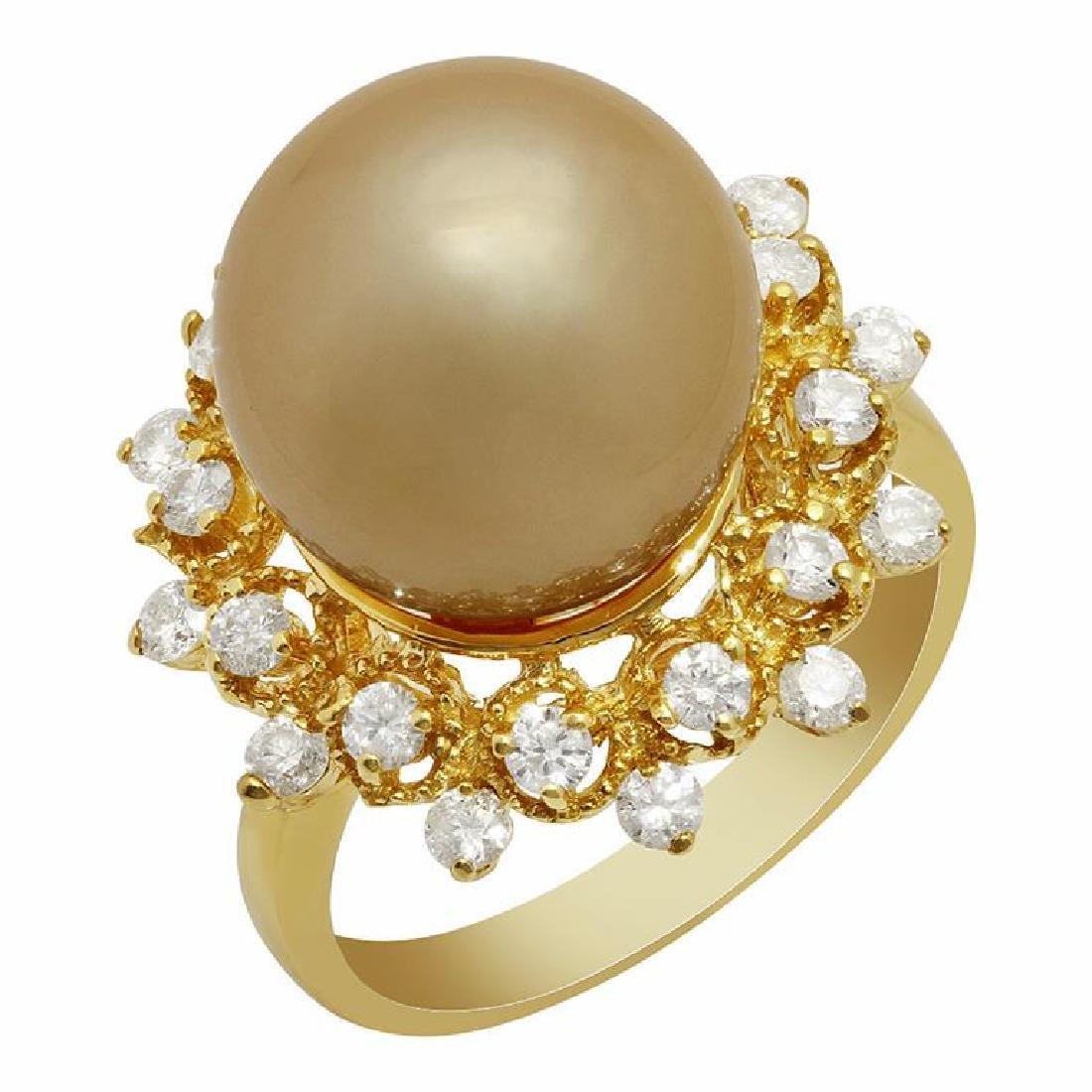 14k Yellow Gold 12mm Pearl 0.78ct Diamond Ring