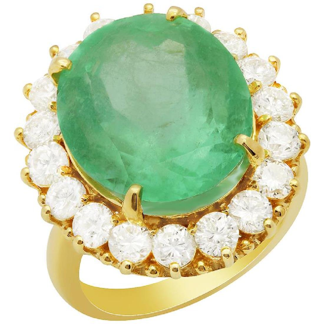 14k Yellow Gold 13.92ct Emerald 2.52ct Diamond Ring