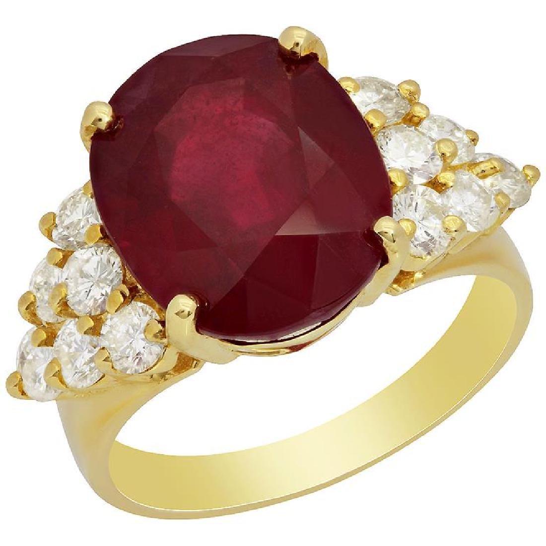 14k Yellow Gold 10.56ct Ruby 1.06ct Diamond Ring