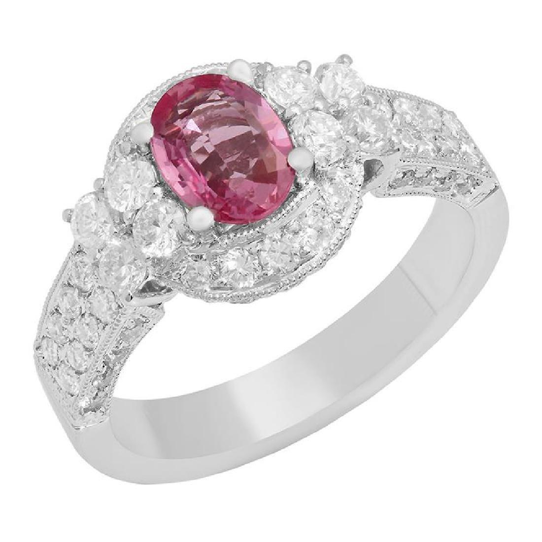 14k White Gold 1.00ct Sapphire 1.15ct Diamond Ring