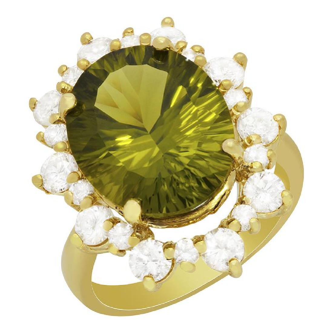 14k Yellow Gold 8.97ct Peridot 1.70ct Diamond Ring