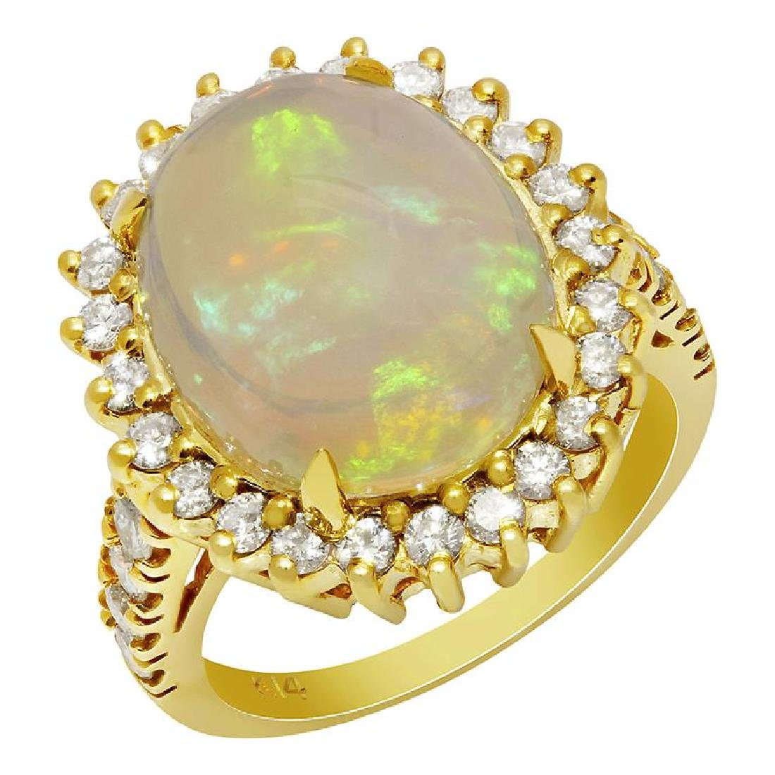 14k Yellow Gold 6.99ct Opal 1.10ct Diamond Ring