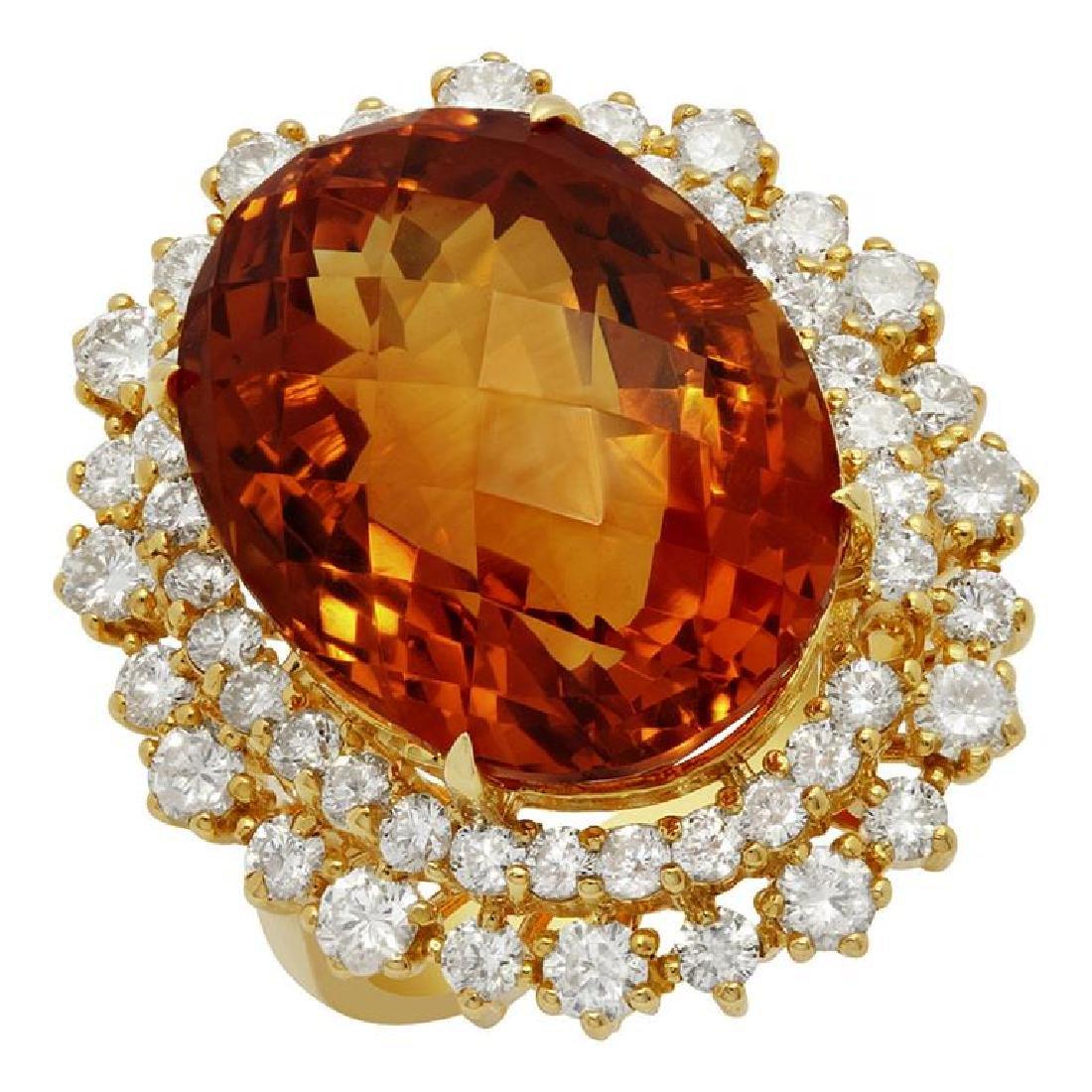 14k Yellow Gold 18.21ct Citrine 2.089ct Diamond Ring
