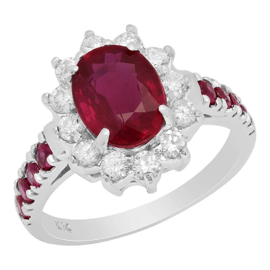 14k White Gold 2.88ct & 0.46ct Ruby 0.57ct Diamond Ring