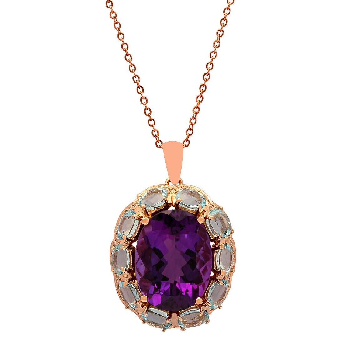 14k Rose Gold 17.60ct Amethyst 13.82ct Aquamarine