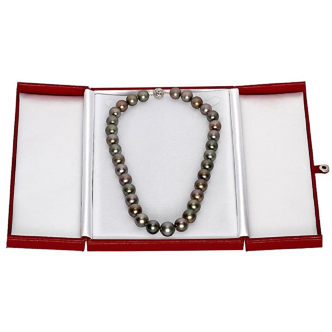 12-14.5mm Natural Black Pearl Necklace - 3