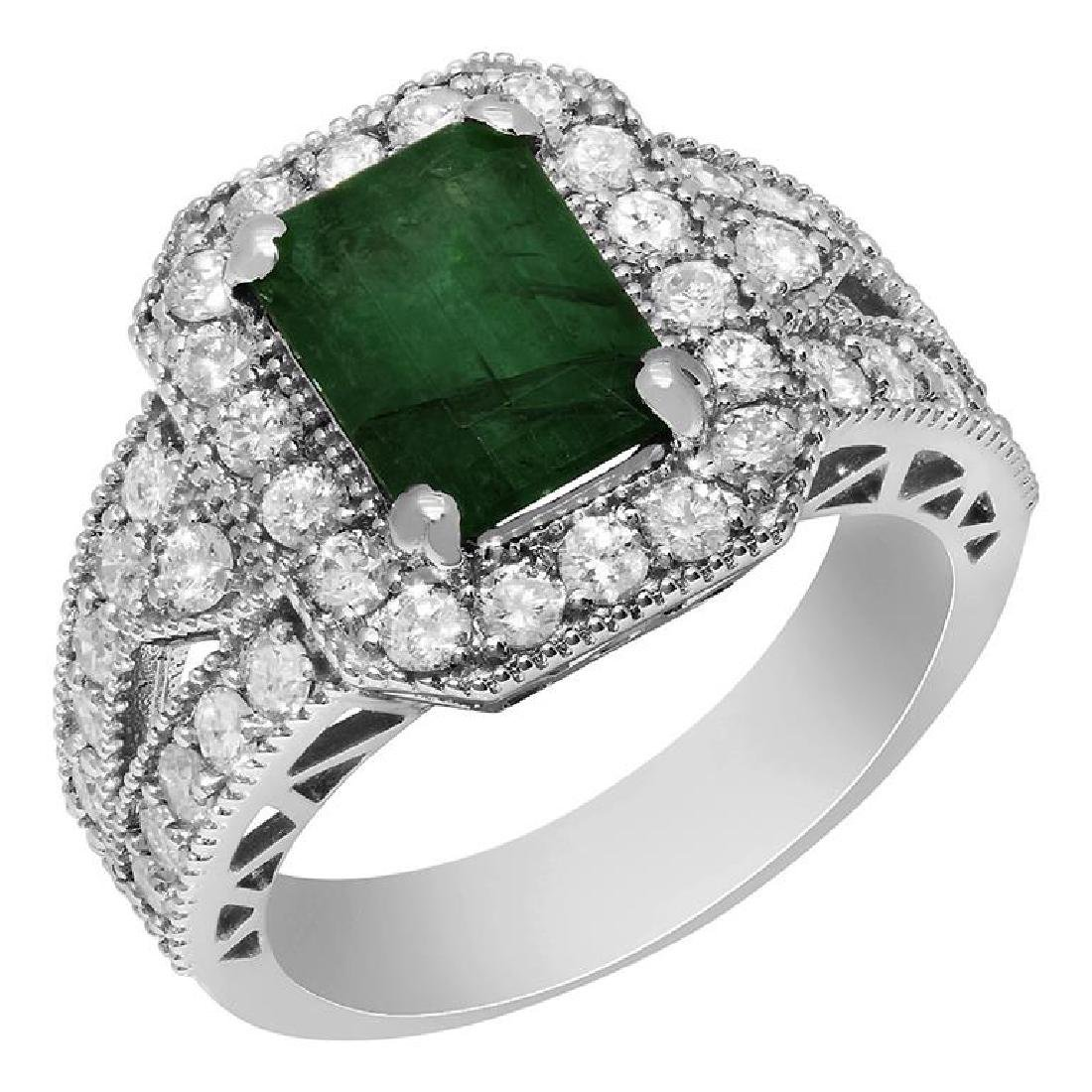 14k White Gold 2.10ct Emerald 1.19ct Diamond Ring