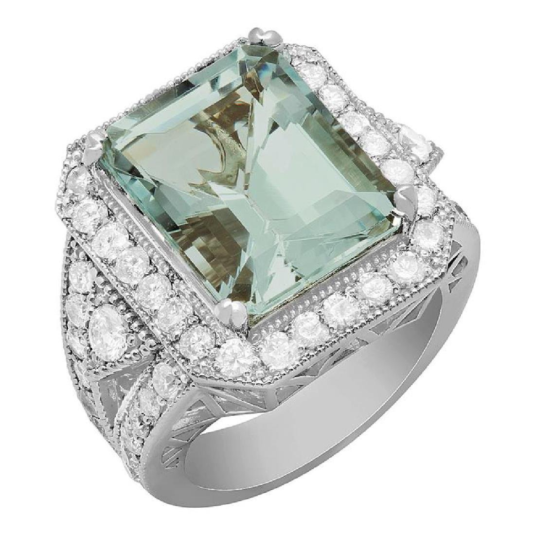 14k White Gold 9.65ct Aquamarine 2.12ct Diamond Ring
