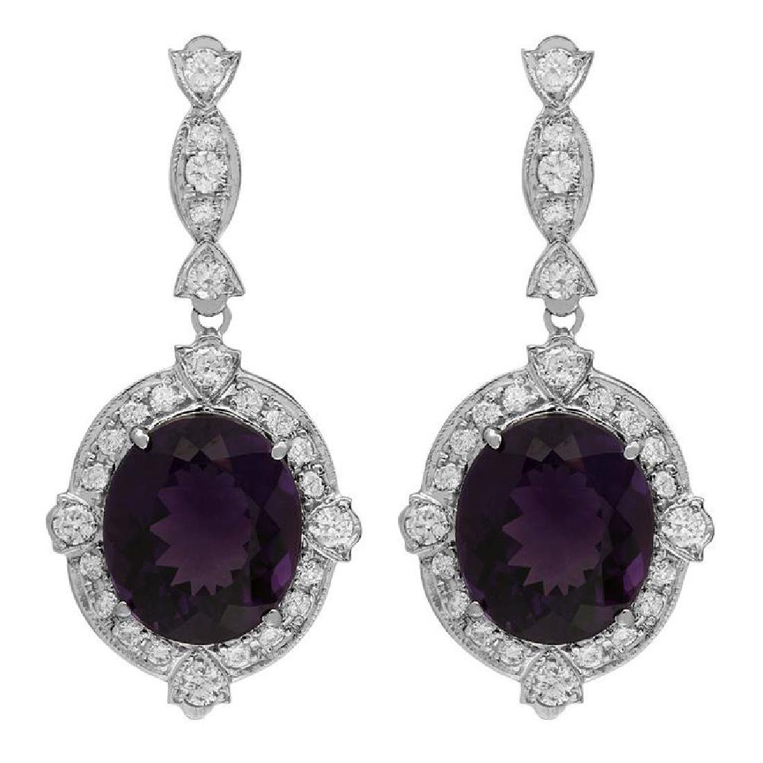 14k White Gold 16.53ct Amethyst 1.83ct Diamond Earrings