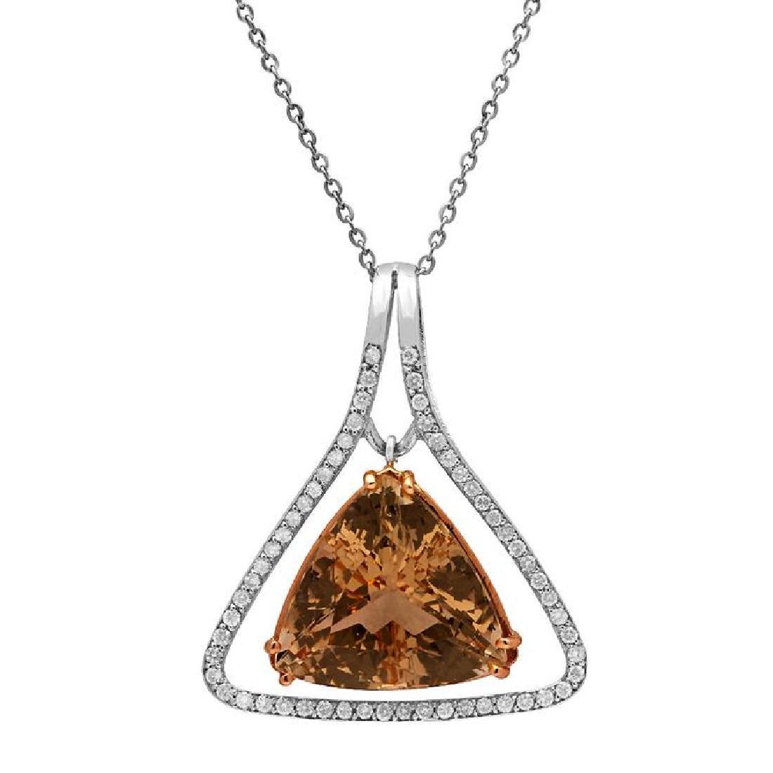 14k White Gold 23.65ct Morganite 1.09ct Diamond Pendant