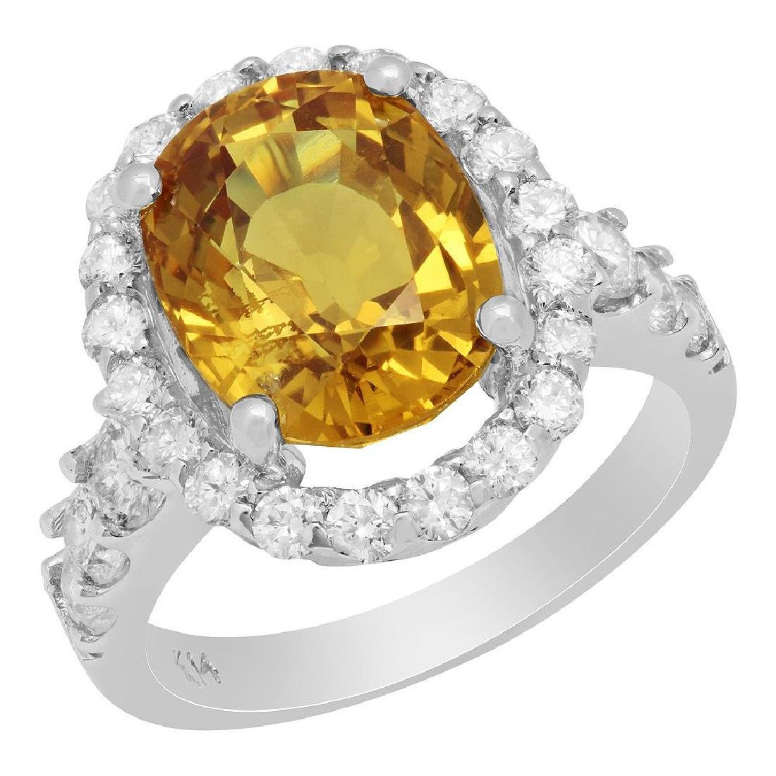 14k White Gold 6.95ct Yellow Sapphire 1.42ct Diamond