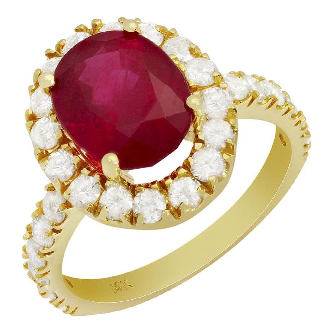 14k Yellow Gold 4.48ct Ruby 1.26ct Diamond Ring