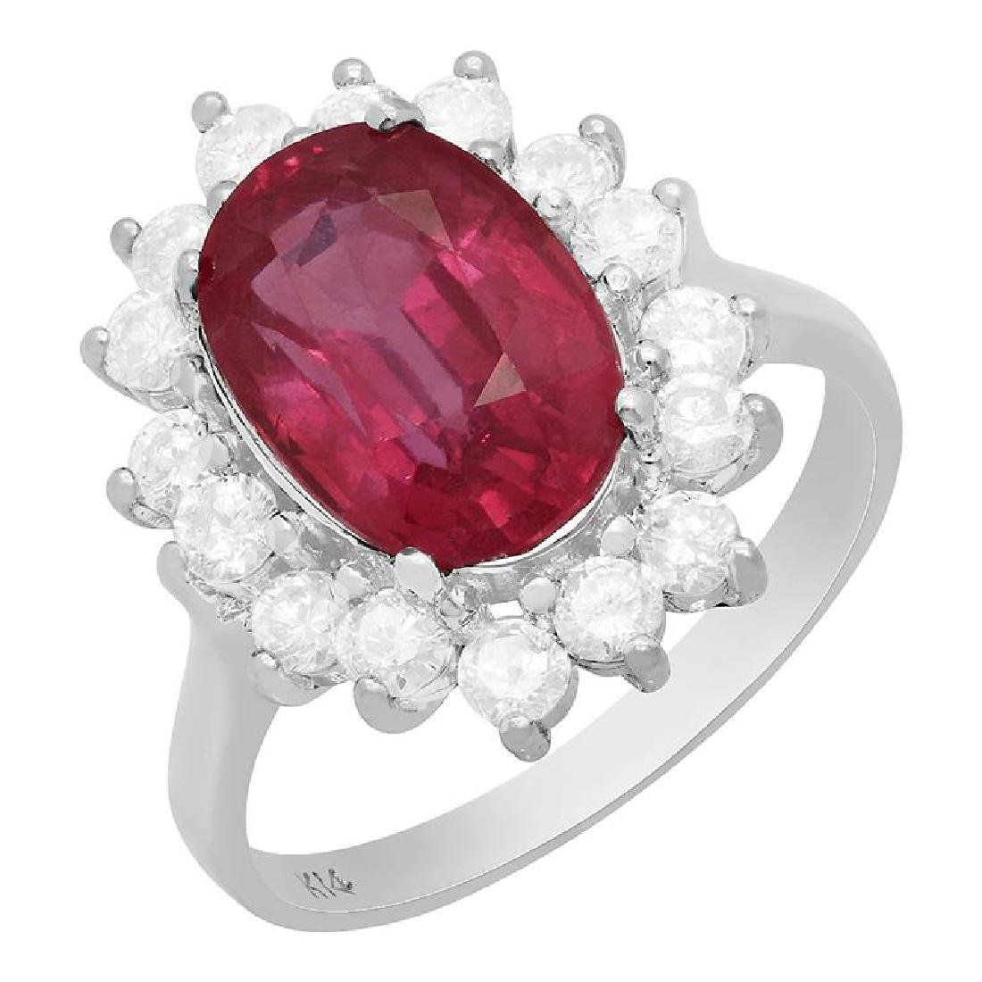 14k White Gold 4.61ct Ruby 0.98ct Diamond Ring