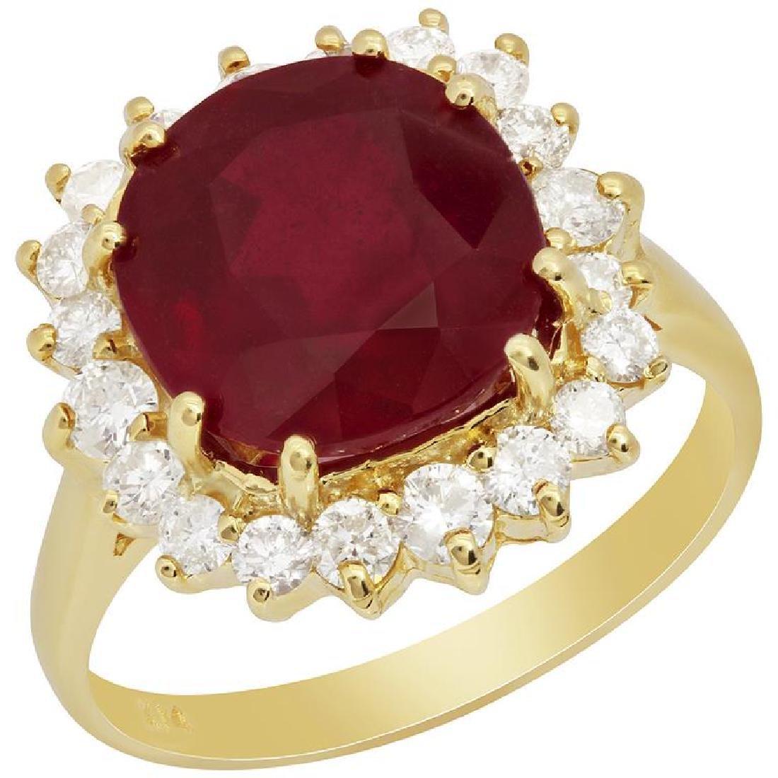 14k Yellow Gold 6.16ct Ruby 0.81ct Diamond Ring