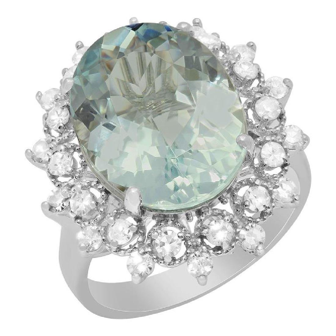 14k White Gold 7.06ct Aquamarine 0.74ct Diamond Ring