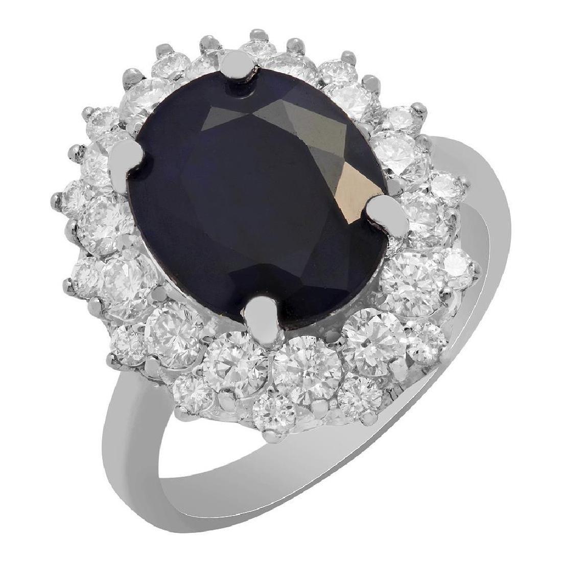 14k White Gold 6.61ct Sapphire 1.43ct Diamond Ring