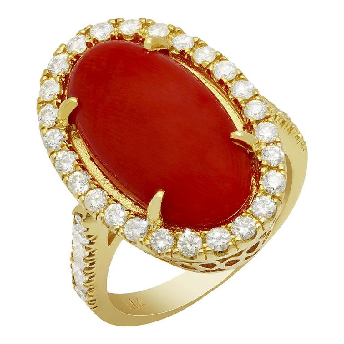 14k Yellow Gold 8.18ct Coral 0.92ct Diamond Ring
