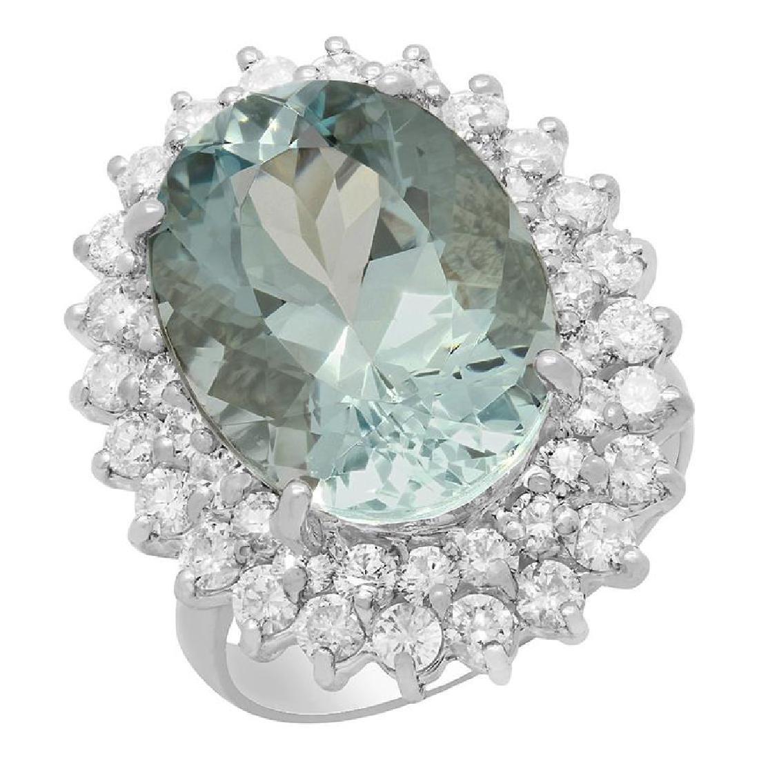 14k White Gold 9.27ct Aquamarine 2.04ct Diamond Ring