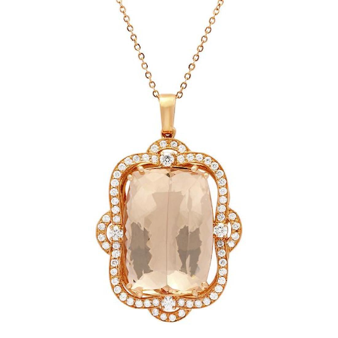 14k Rose Gold 45.96ct Morganite 2.07ct Diamond Pendant