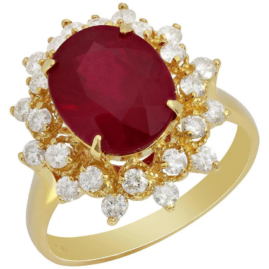 14k Yellow Gold 5.07ct Ruby 0.73ct Diamond Ring