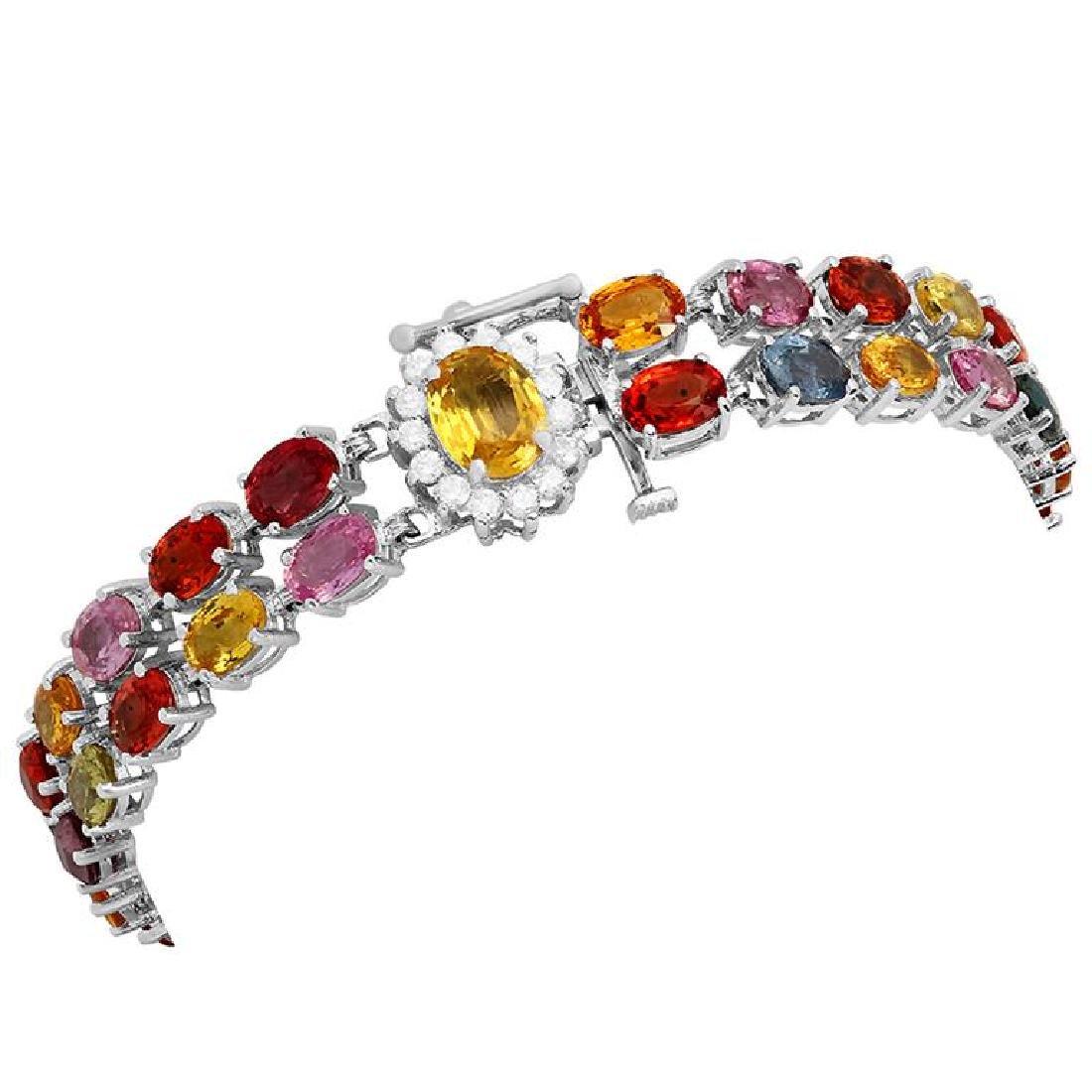 14k White Gold 28.80ct Sapphire 0.42ct Diamond Bracelet