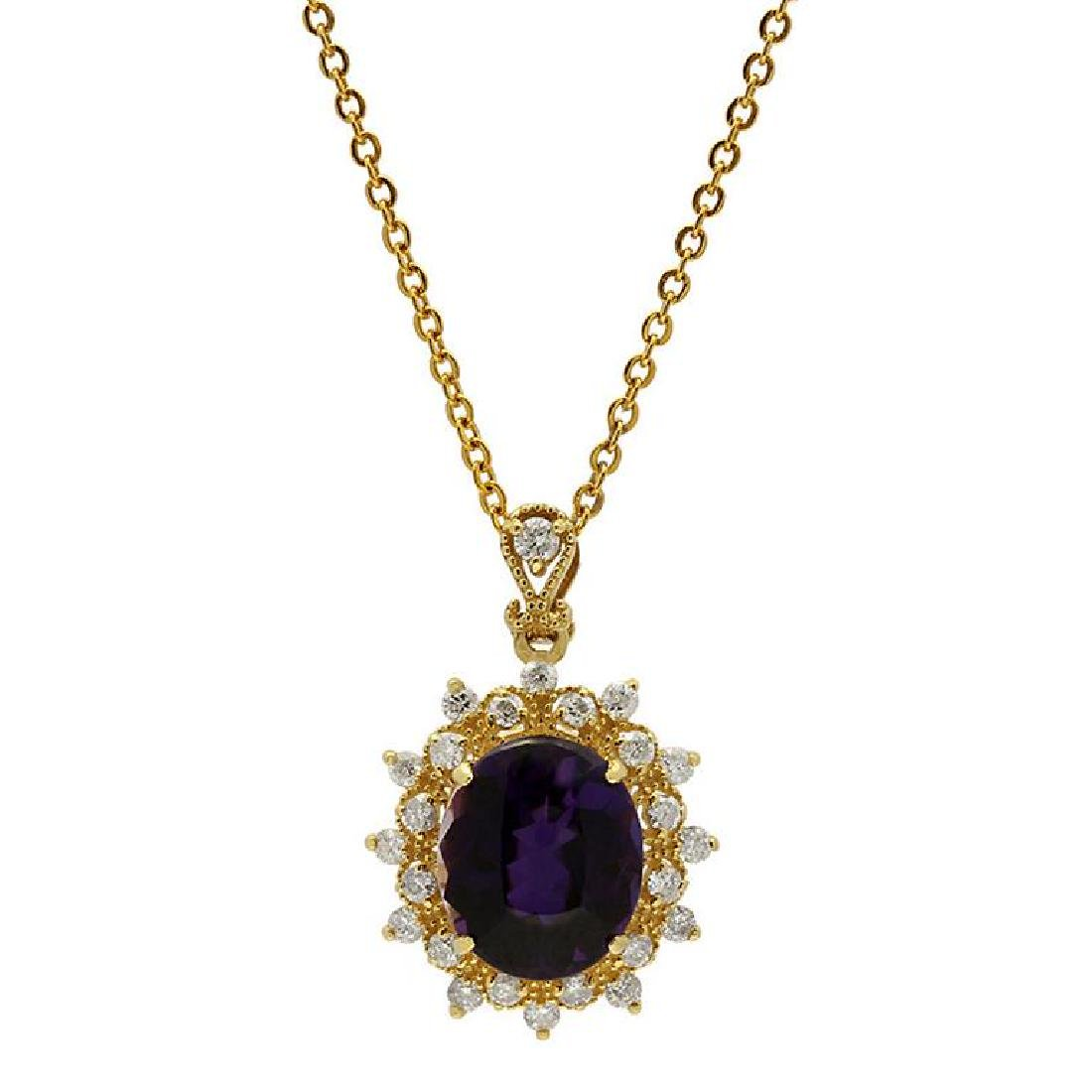 14k Yellow Gold 5.16ct Amethyst 0.73ct Diamond Pendant