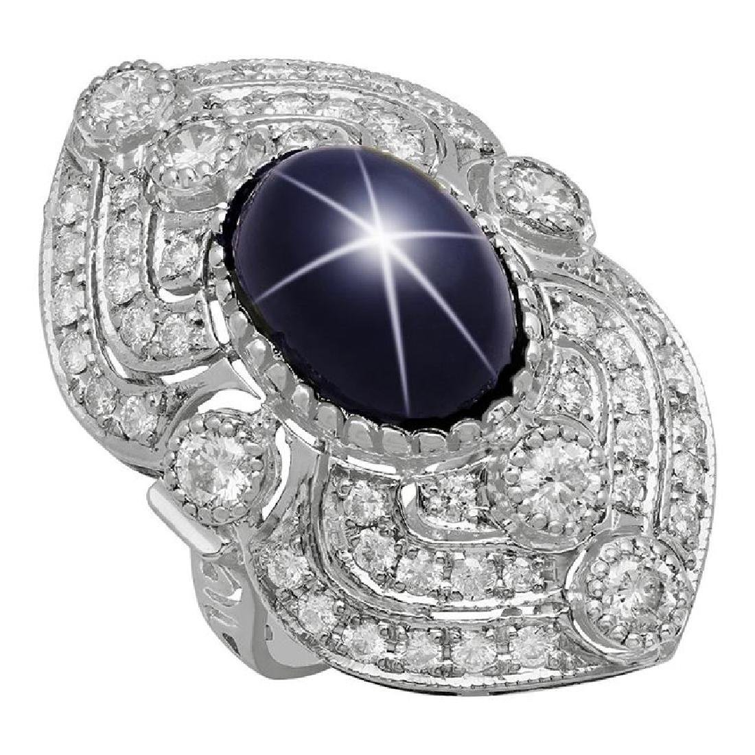 14k White Gold 13.91ct Star Sapphire 2.41ct Diamond