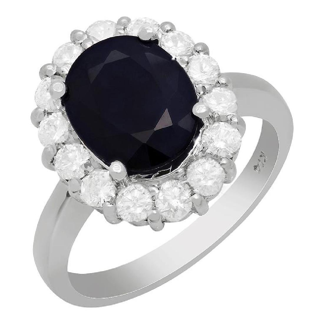 14k White Gold 3.18ct Sapphire 0.92ct Diamond Ring