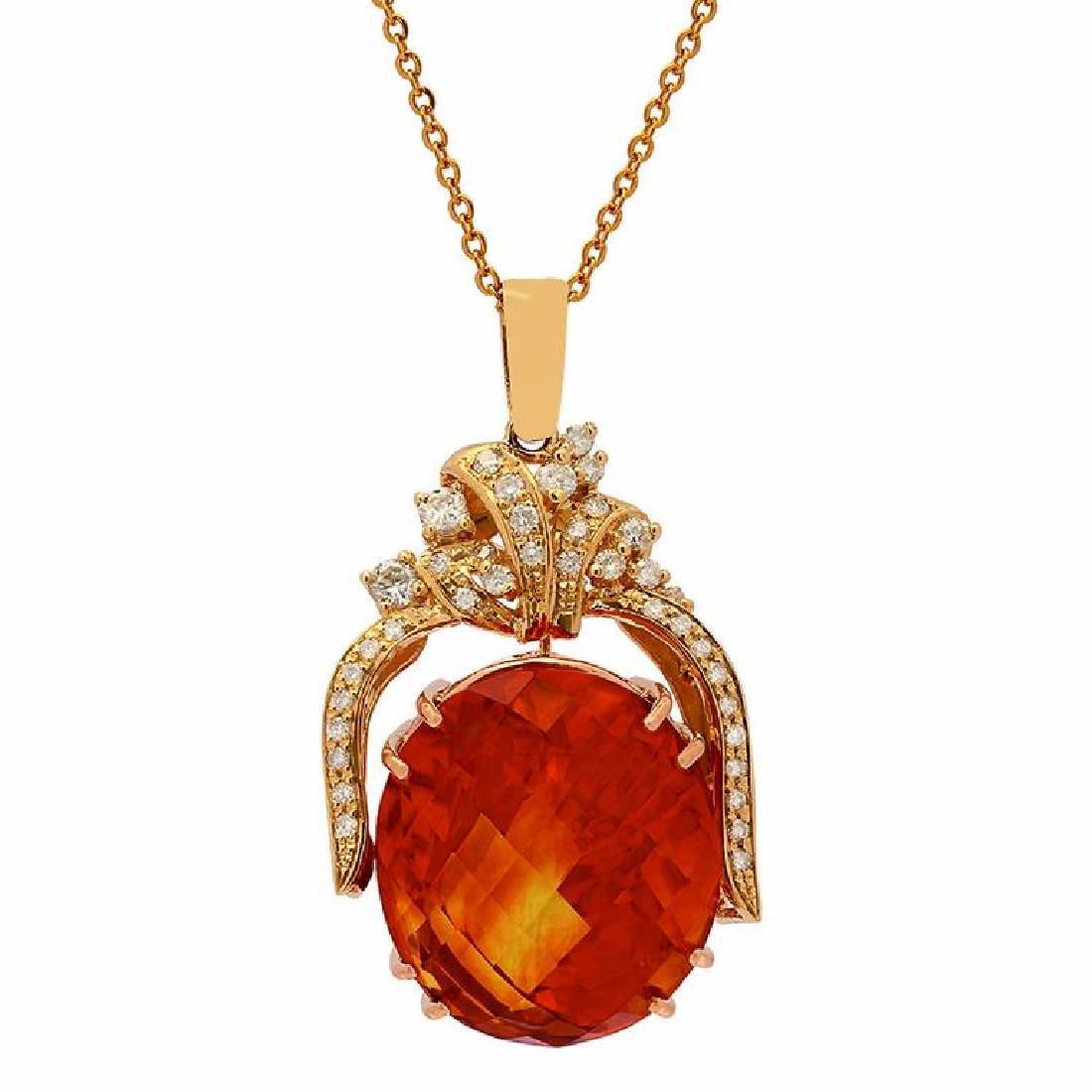 14k Yellow Gold 47.46ct Citrine 1.09ct Diamond Pendant