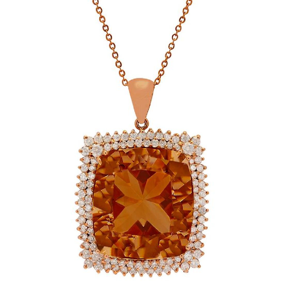 14k Rose Gold 56.94ct Morganite 4.21ct Diamond Pendant