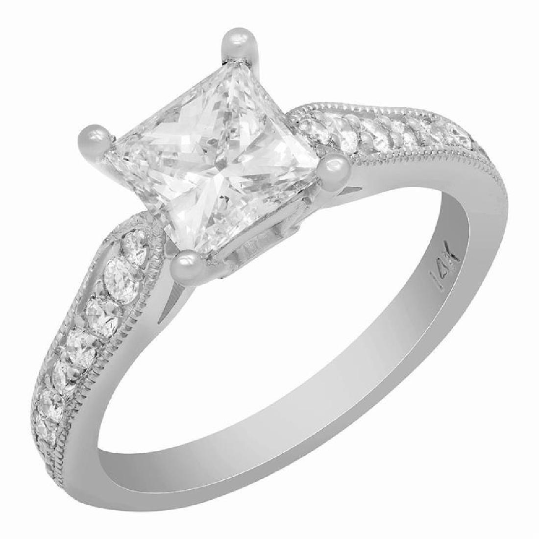 14k White Gold 1.27ct & 0.32ct Diamond Ring
