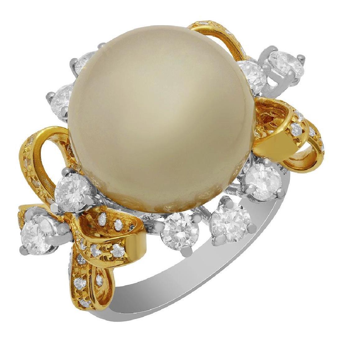 14k White & Yellow Gold 14mm Pearl 2.27ct Diamond Ring