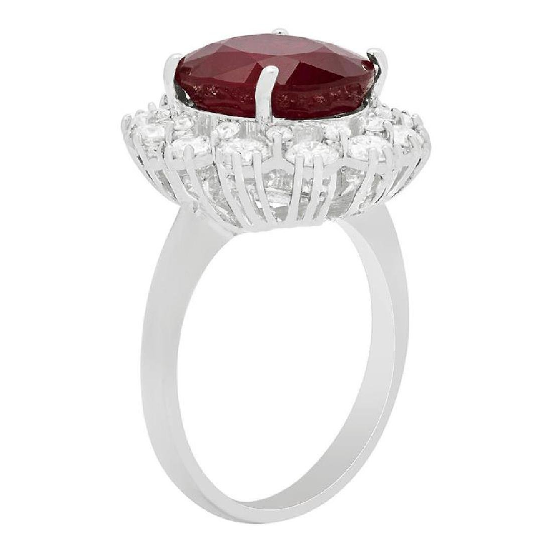 14k White Gold 6.15ct Ruby 1.44ct Diamond Ring - 2