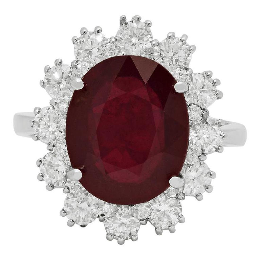 14k White Gold 6.15ct Ruby 1.44ct Diamond Ring - 3